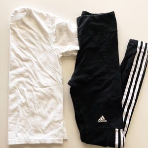 Adidas super high waist cropped t-shirt bundle